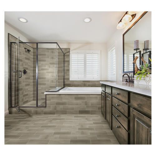 Woodlane Floor Or Wall Ceramic Tile 7 X 20 At Menards Bathroom