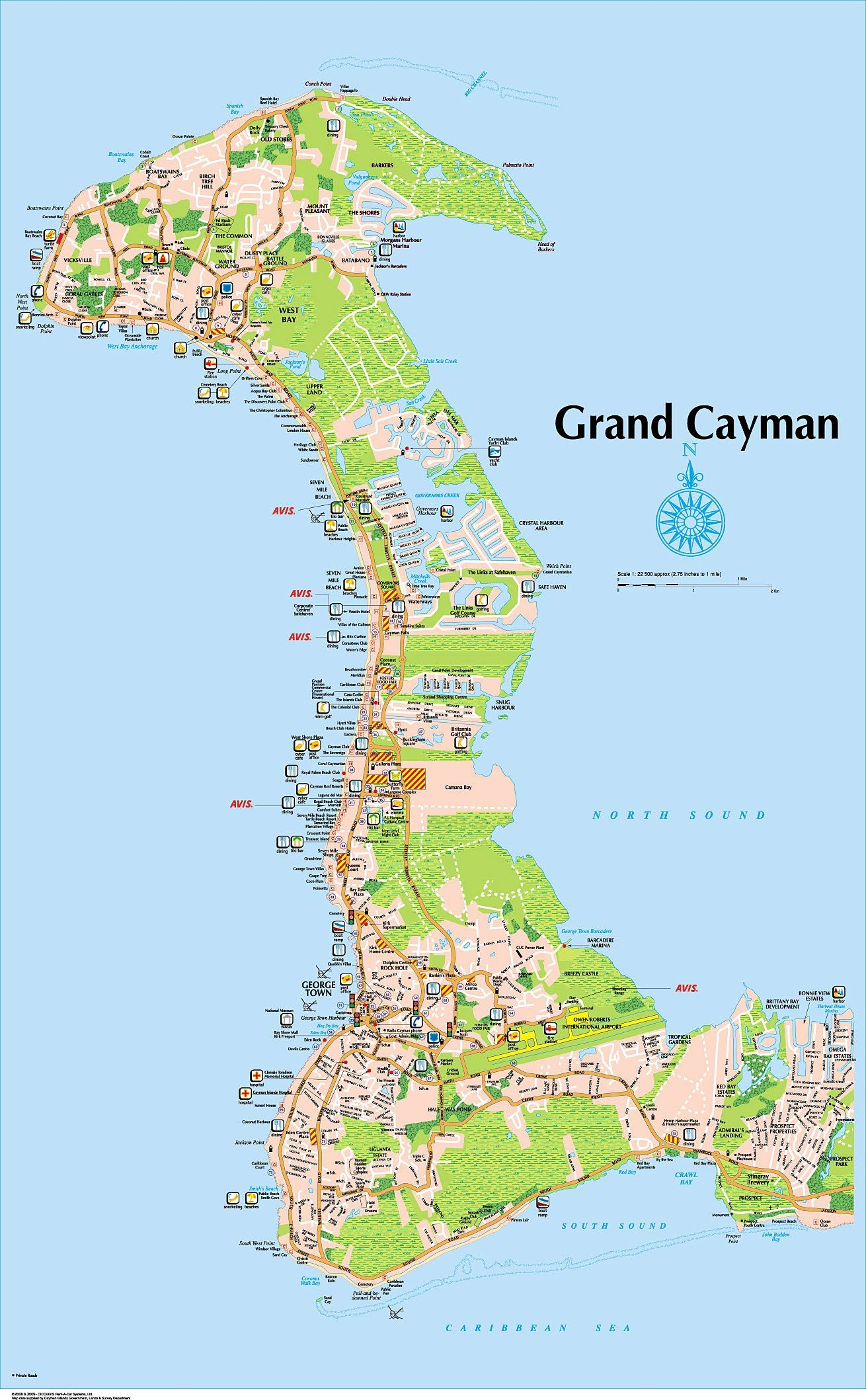 Grand Cayman Map 7 Mile Beach   Full Size Map   Grand Cayman Island Map. Book four  Grand Cayman Map
