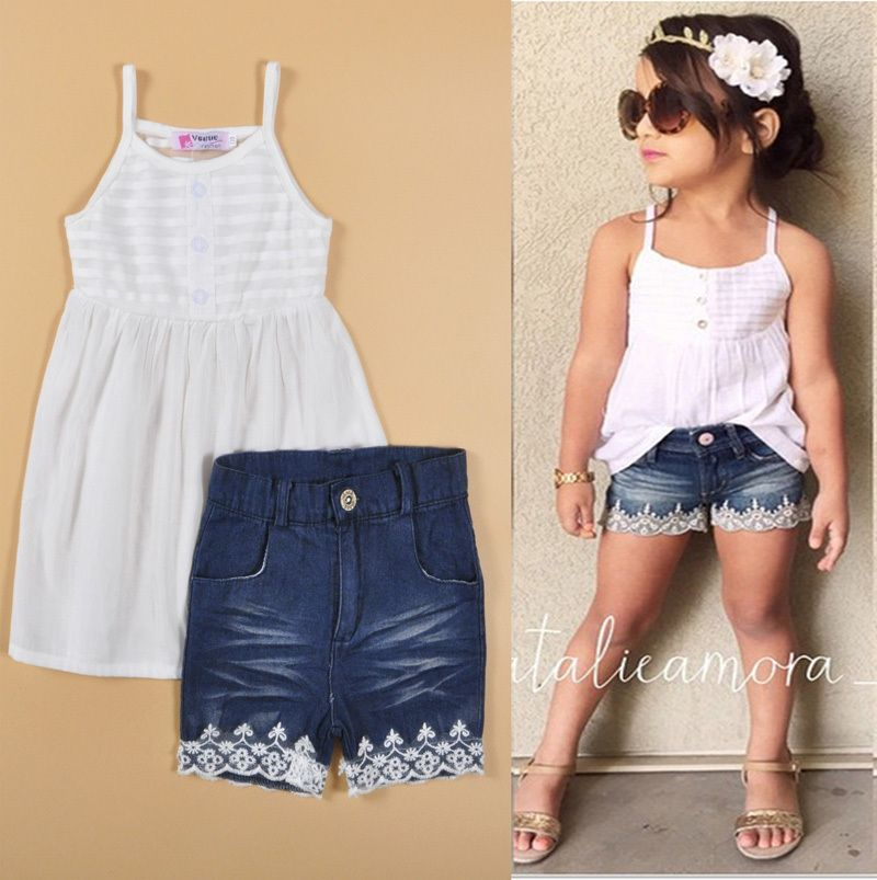 Denim Pants Outfit Set US Summer Fashion Toddler Kids Baby Girls Lace Shirt