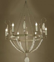 Chandelier With Scroll Arms And Rock