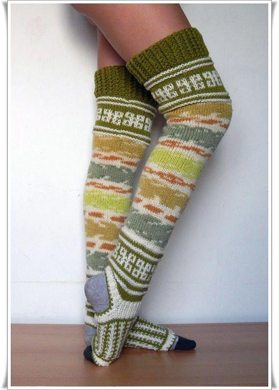 Leggings for yoga Knitted leggings for pilates Pilates socks Long ...