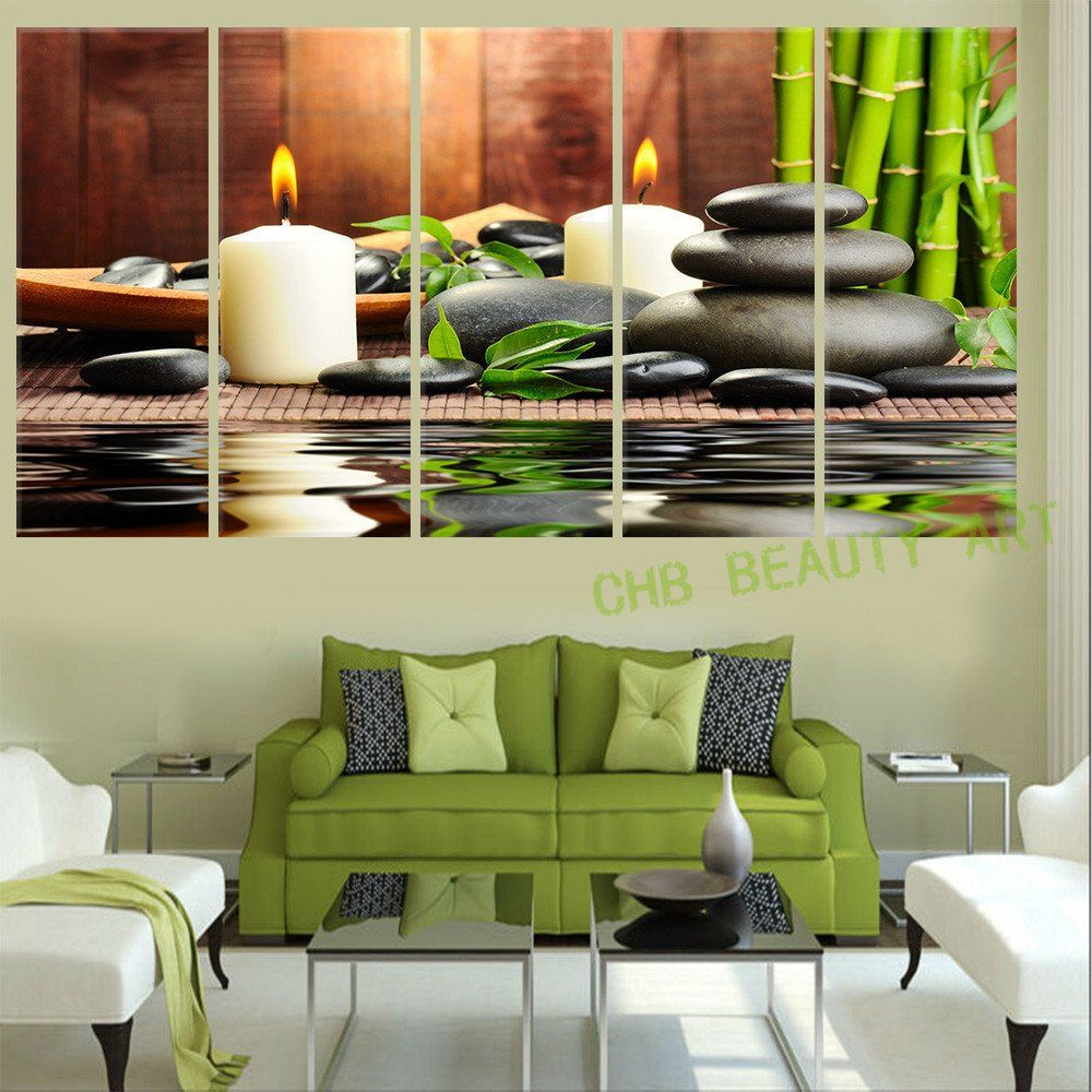 Wall Decor In Living Room 5 Panel Modern Wall Art Oil Painting Spa Stone Bamboo Candelshome