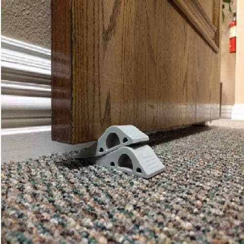 Holders Gray Stop Door Decorative Stopper Work Floor Surfaces Rubber 3 Pack #Wundermax