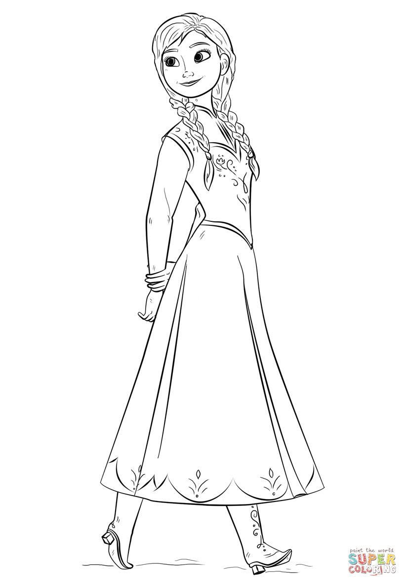 anna coloring pages anna from the frozen movie coloring