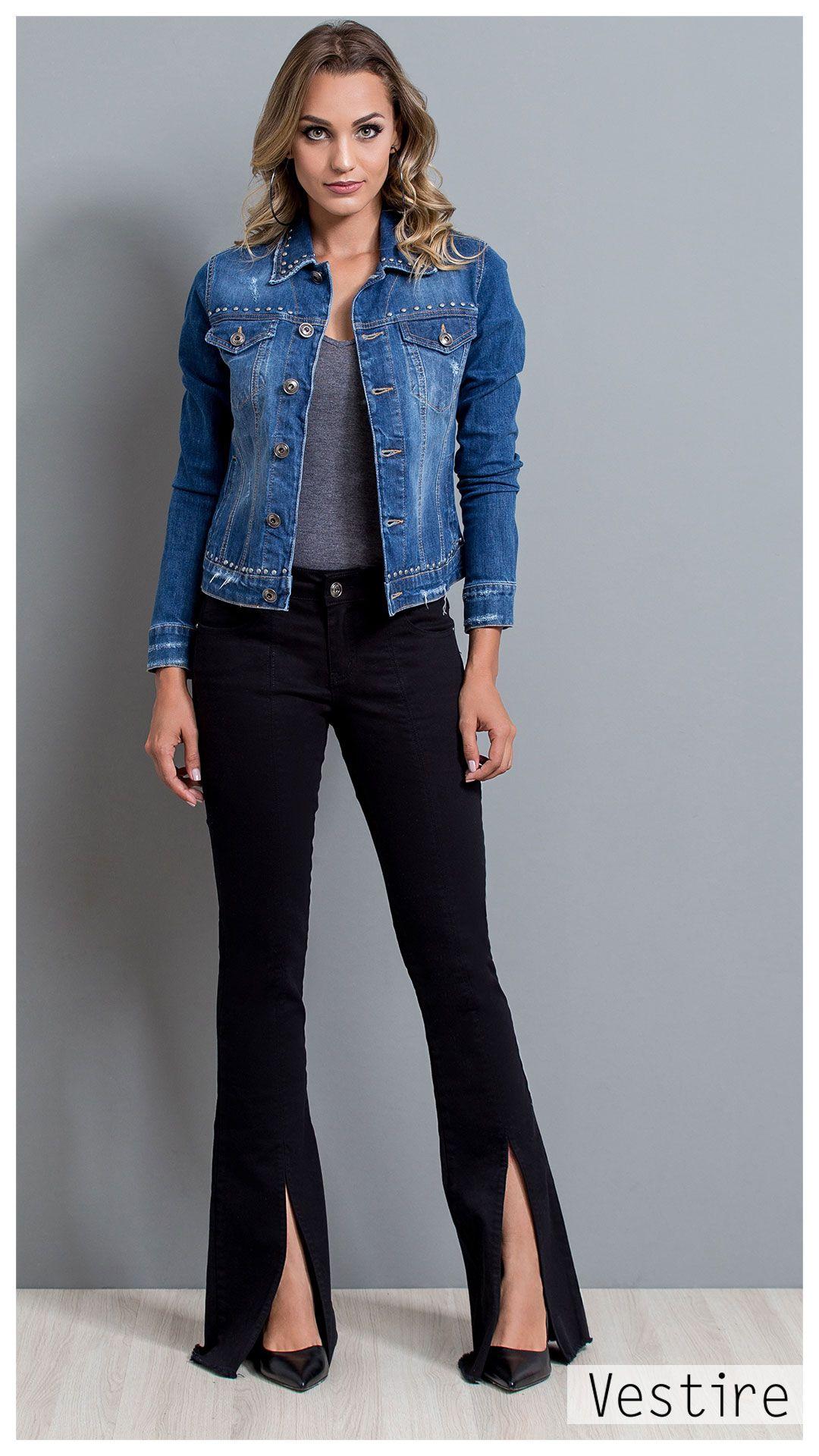 50d2a4d0c Jeans. Vestire Jeans. Moda Feminina. Jeans Feminino. Calça Flare, Sarja  Preta, com Abertura na frente. Jaqueta Jeans