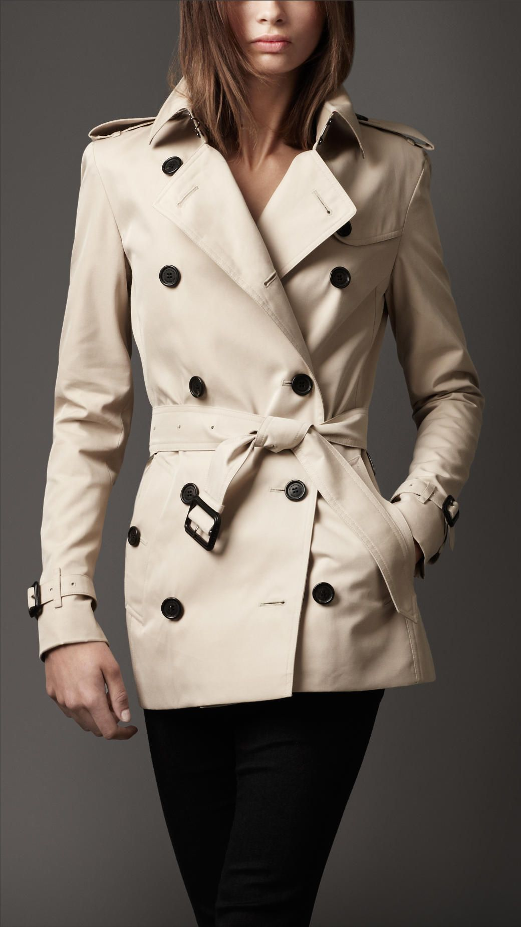 Sexy Short Burberry Trench Coat on My Lady with some black ...