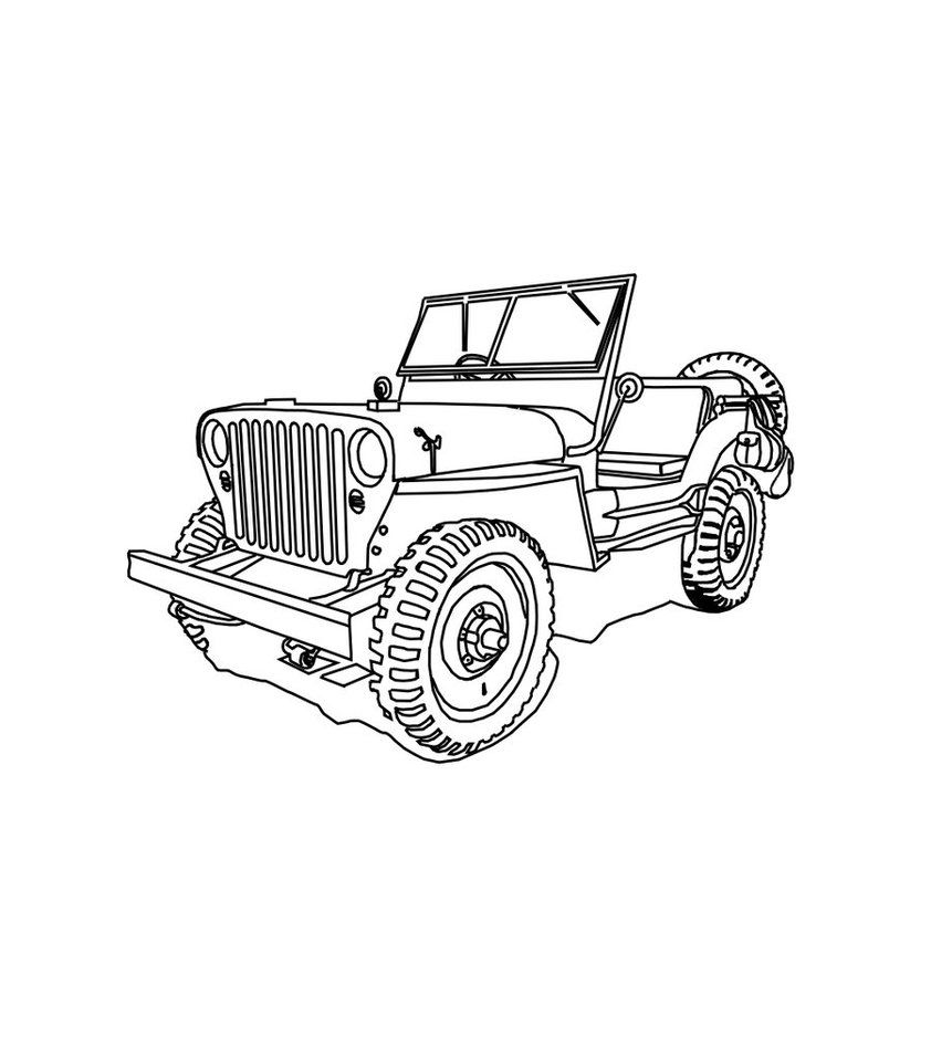 Fun Cj 3b High Hood For The Jeep Coloring Book Monster Truck Coloring Pages Truck Art Coloring Pages