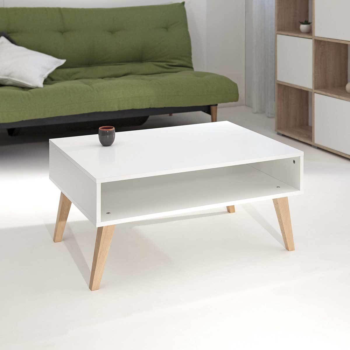 Elegant Table Basse Blanche Pied Bois Id Es De Conception De  # Table Basse Blanche Et Bois