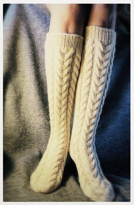 Knitted wool socks. Slipper socks for women. by BeautyByBeatris