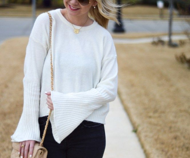 White Bell Sleeves for Winter - Adore More with Geor