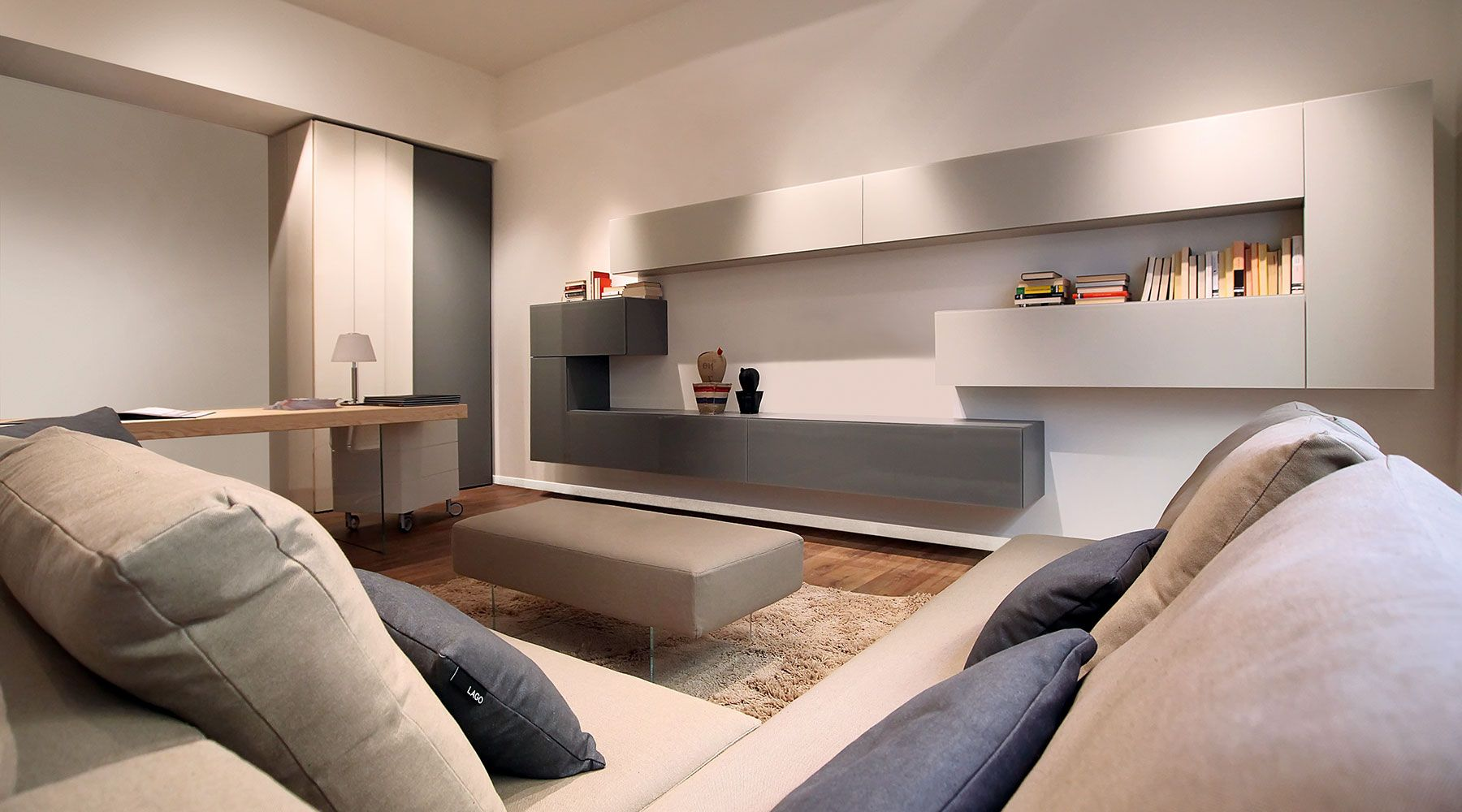 Living Room Bicolour Cupboards White And Grey Meuble Tv  # Meuble Tv Modulaire