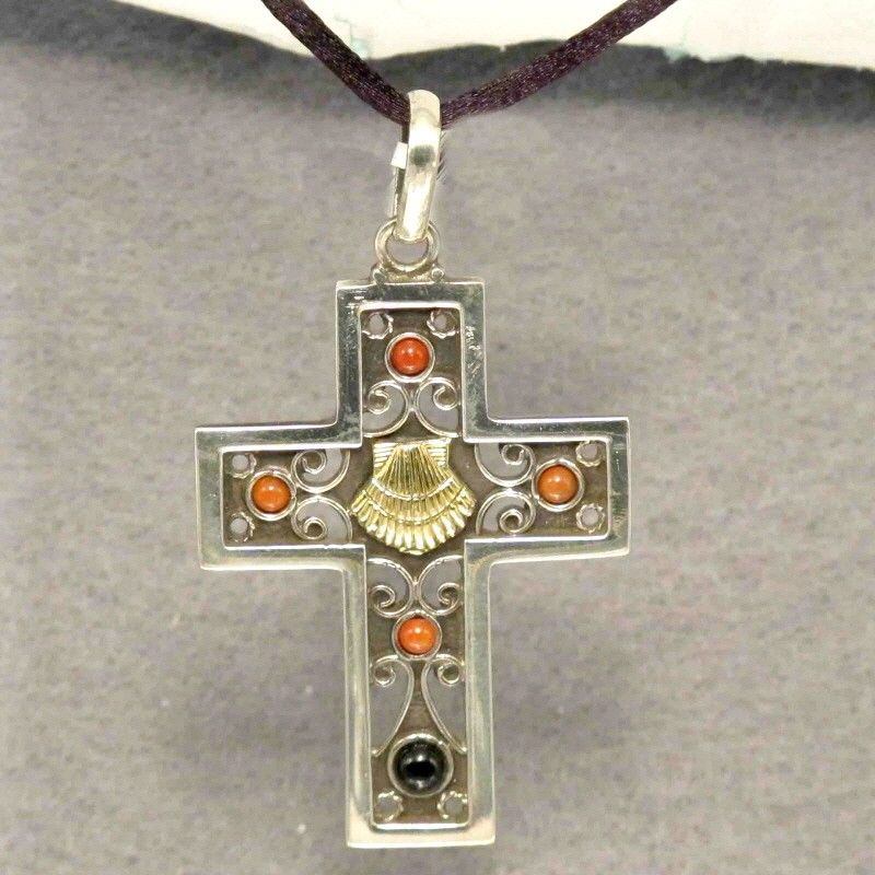 $89.90 Pendant Cross Silver Jet Choral, Shell bathed in gold.  Handmade in Galicia.Size 50 mm x35 mm