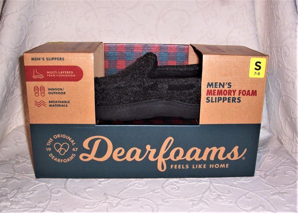 85e9537c7216 Dearfoams Men s Black Memory Foam Slippers Size Small (7-8) Indoor  Outdoor  New  DearfoamsRGBarryCorporation  MoccasinSlippers