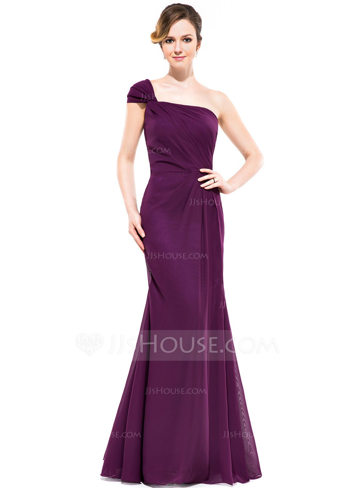 Trumpetmermaid oneshoulder floorlength chiffon bridesmaid dress