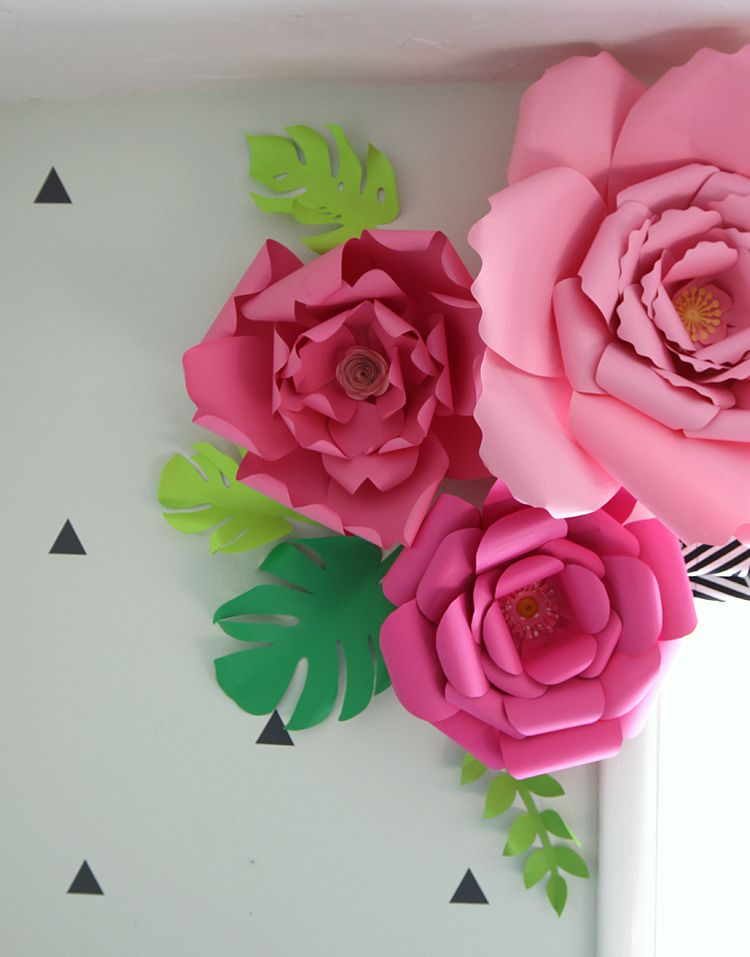 Show and tell link party bloggers fun family projects pinterest 3d paper flower window treatment via the craft patch how to make paper flowers large mightylinksfo