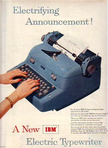 New electric typewriter for 1954. Wow! What will they think of next?
