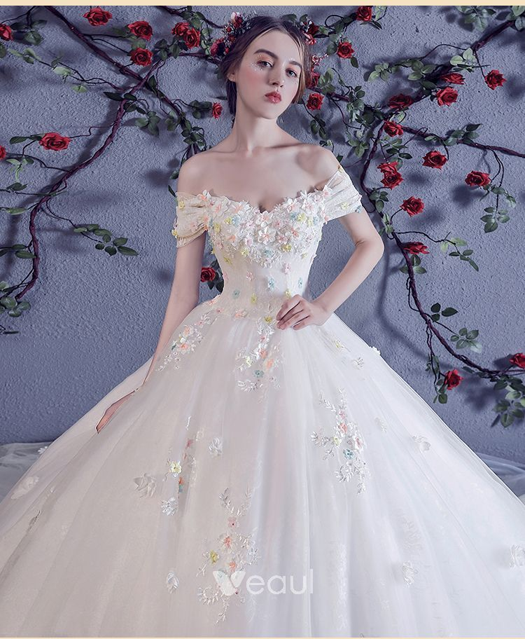 453b25d393 Chic / Beautiful White Wedding Dresses 2018 Ball Gown Multi-Colors ...