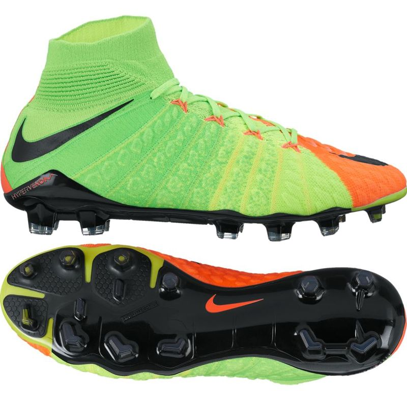 Nike Hypervenom Phantom Iii Df Fg Soccer Cleats Electric Green Black Hyper Orange Volt 860643 308 Nike Soccer Cleats Soccercorner Com Soccer Boots Soccer Cleats Football Shoes