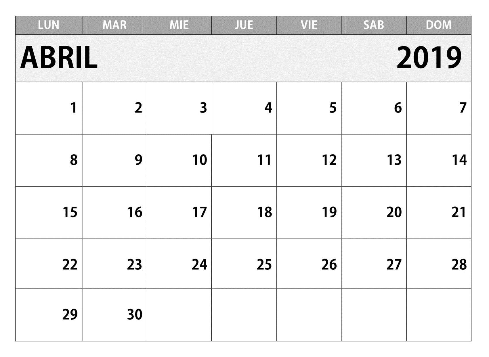 Mini Calendario 2019 Para Imprimir Grande.Calendario 2019 Estilos Para Imprimir Abril T