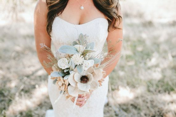 Rustic Dried Bridal Bouquet With Sola Flowers Mixed Dried Flowers