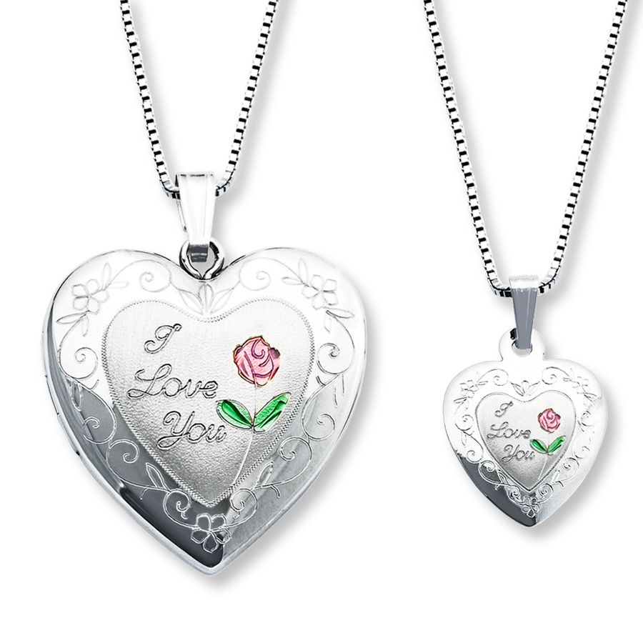 Motherdaughter necklaces heart with rose sterling silver heart daughter necklaces kay motherdaughter necklaces heart with rose sterling silver aloadofball Images