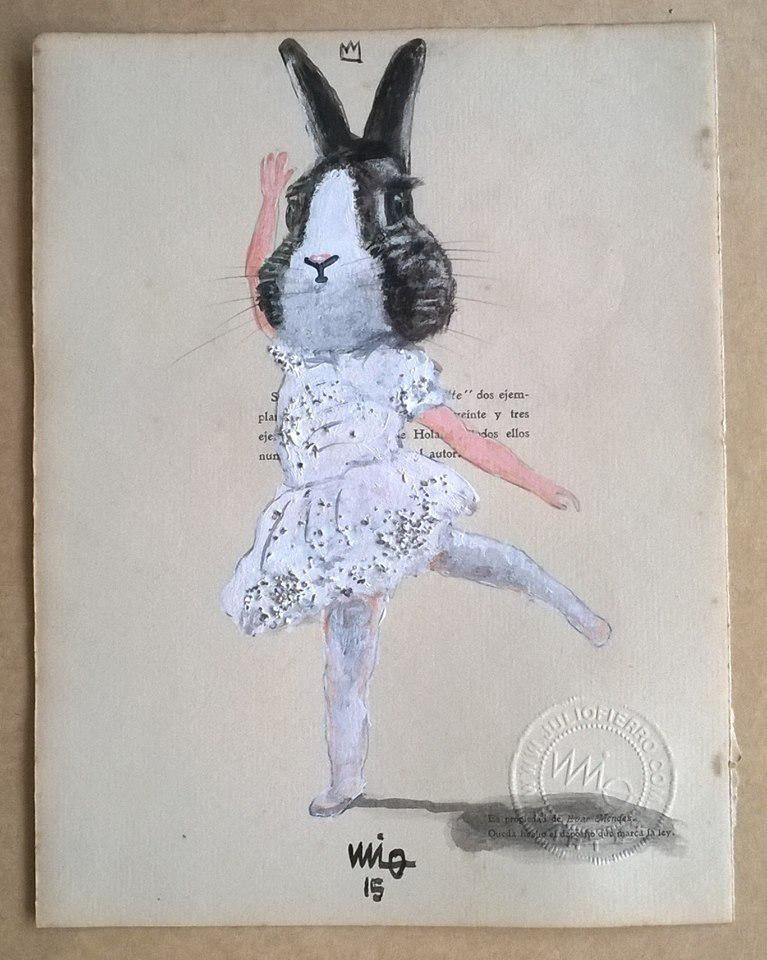 """@juliusfierro """"petit ballerine"""", 22x16cm. Acrílico y brillantina sobre papel"""