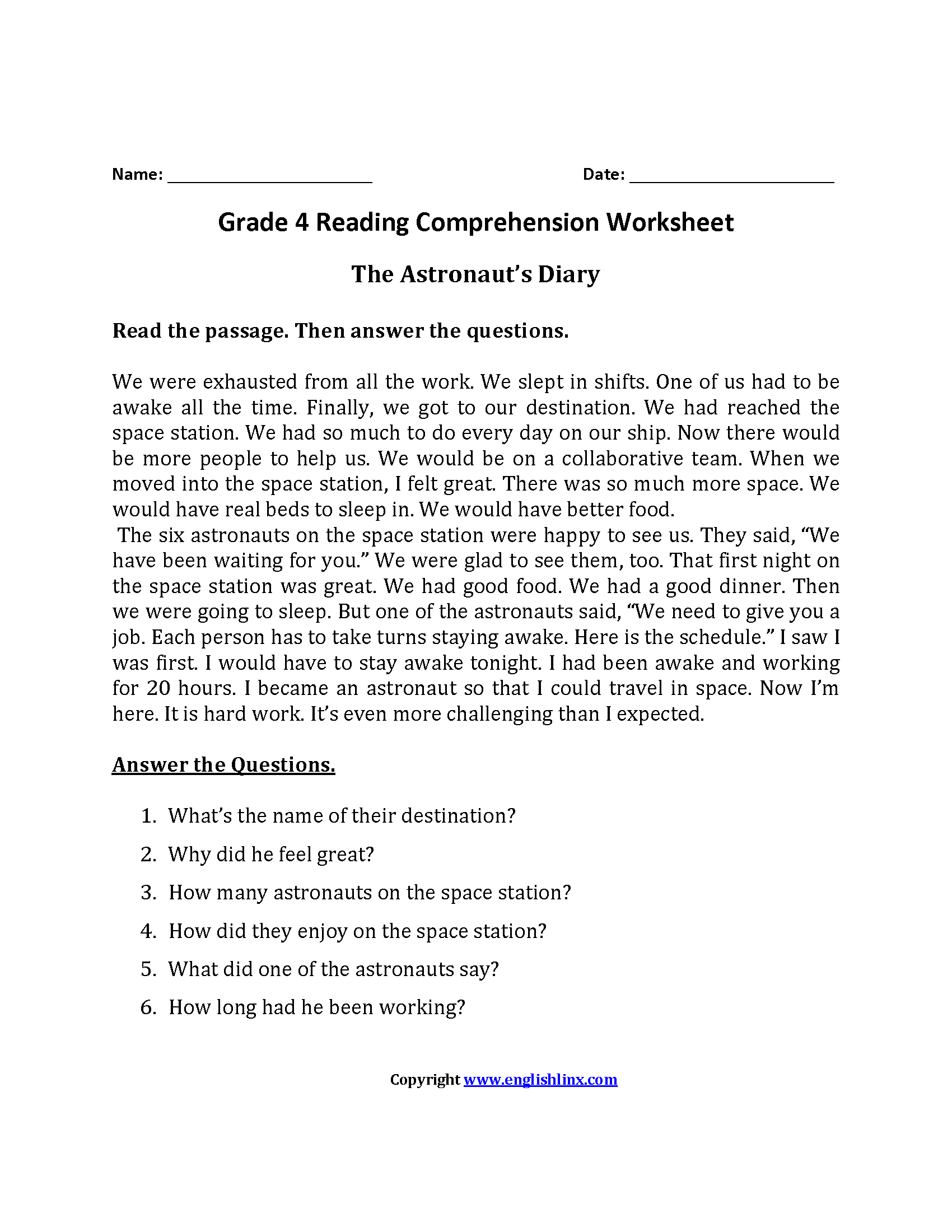 Fourth Grade Reading Comprehension Passages