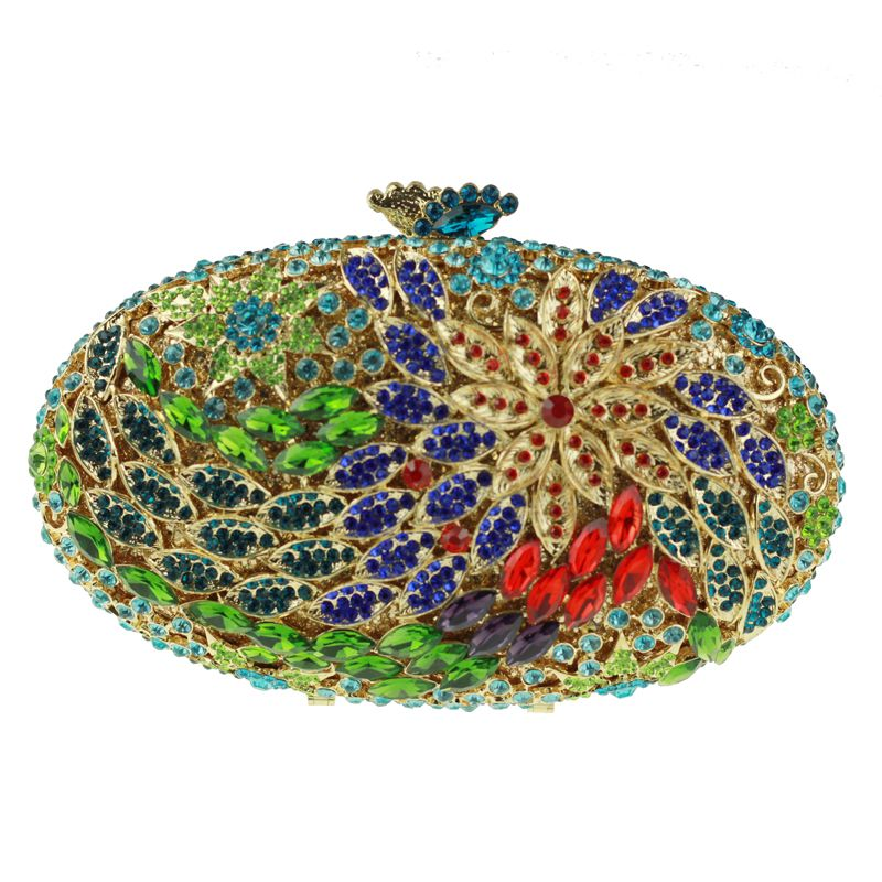 Green Ladies Crystal Clutch Purse For Party Oval Shaped Shoulder