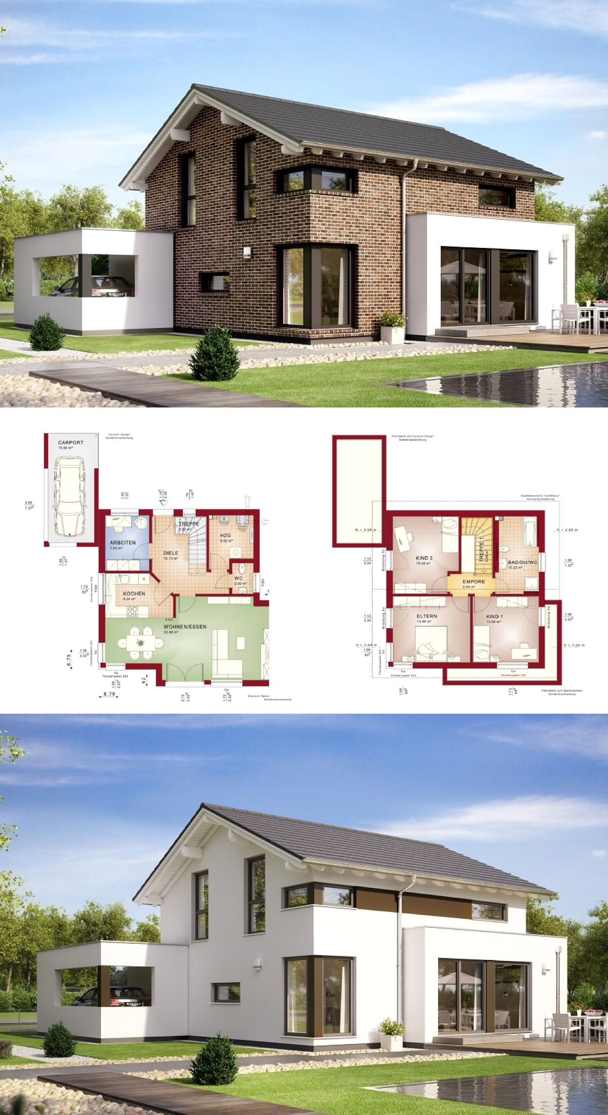 Modernes Einfamilienhaus Mit Satteldach Und Klinker Fassade Mit