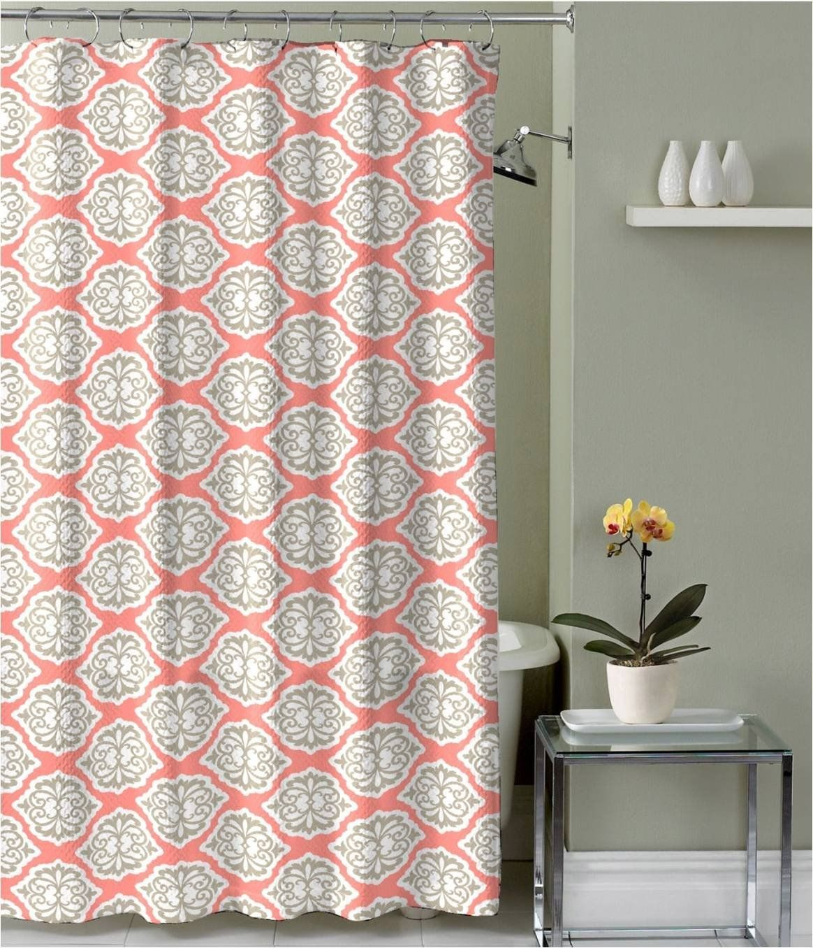Coral Grey White Canvas Fabric Shower Curtain Modern Floral