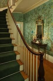 Image result for hand painted silk wallpaper stairs