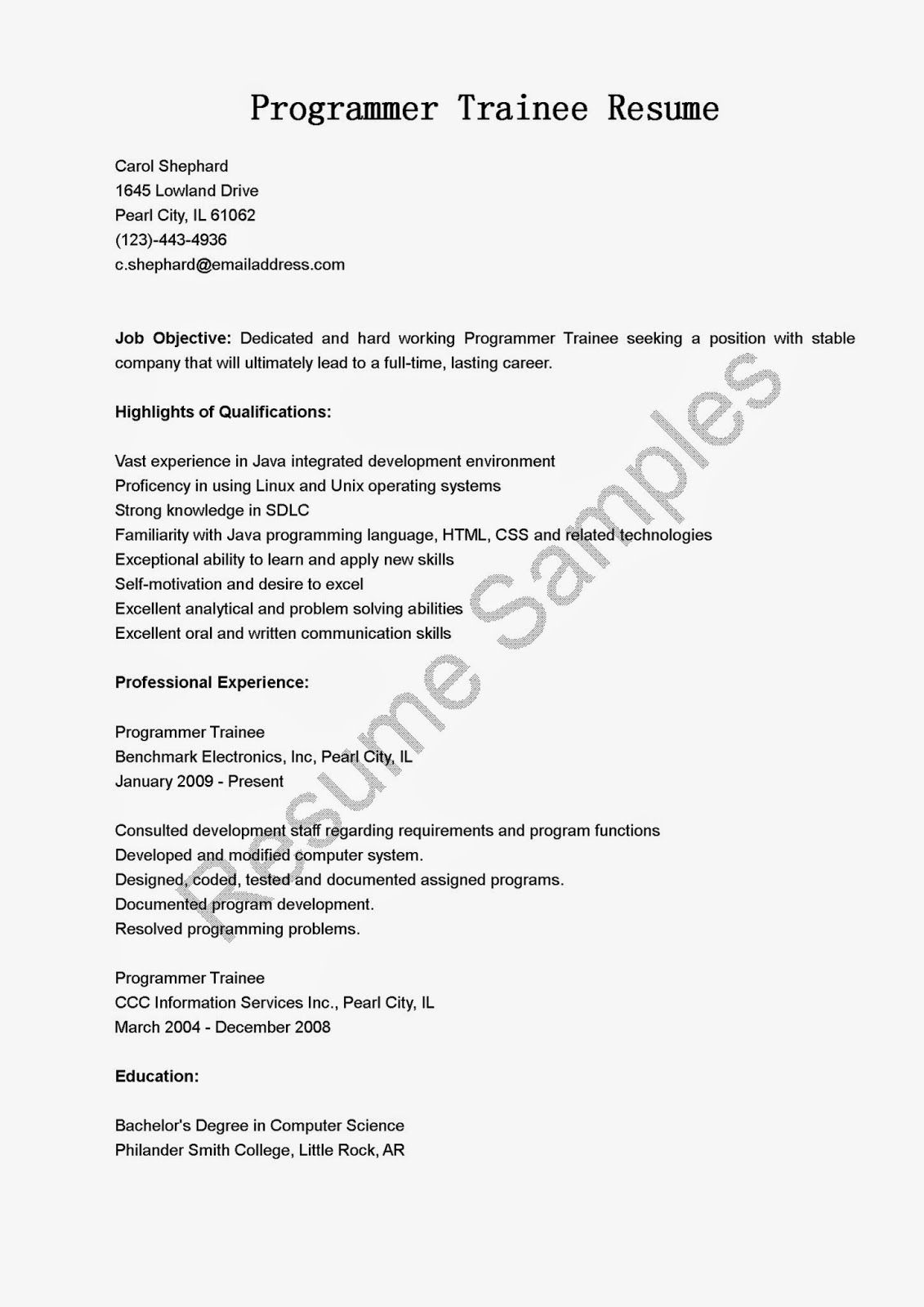 Programmer Trainee Resume Sample |Resume Samples | resame ...
