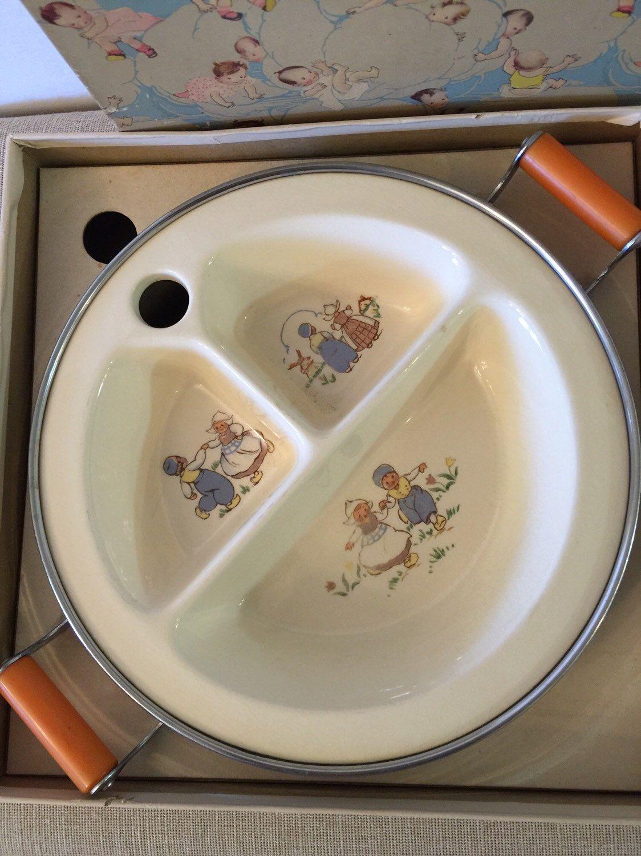 Vintage Baby Bowl | Hot Water Heated | 3 Section | Original Box | Bakelite Handles | Dutch Motif | Baby Shower | Christening Gift | Nursery & Vintage Baby Bowl | Hot Water Heated | 3 Section | Original Box ...