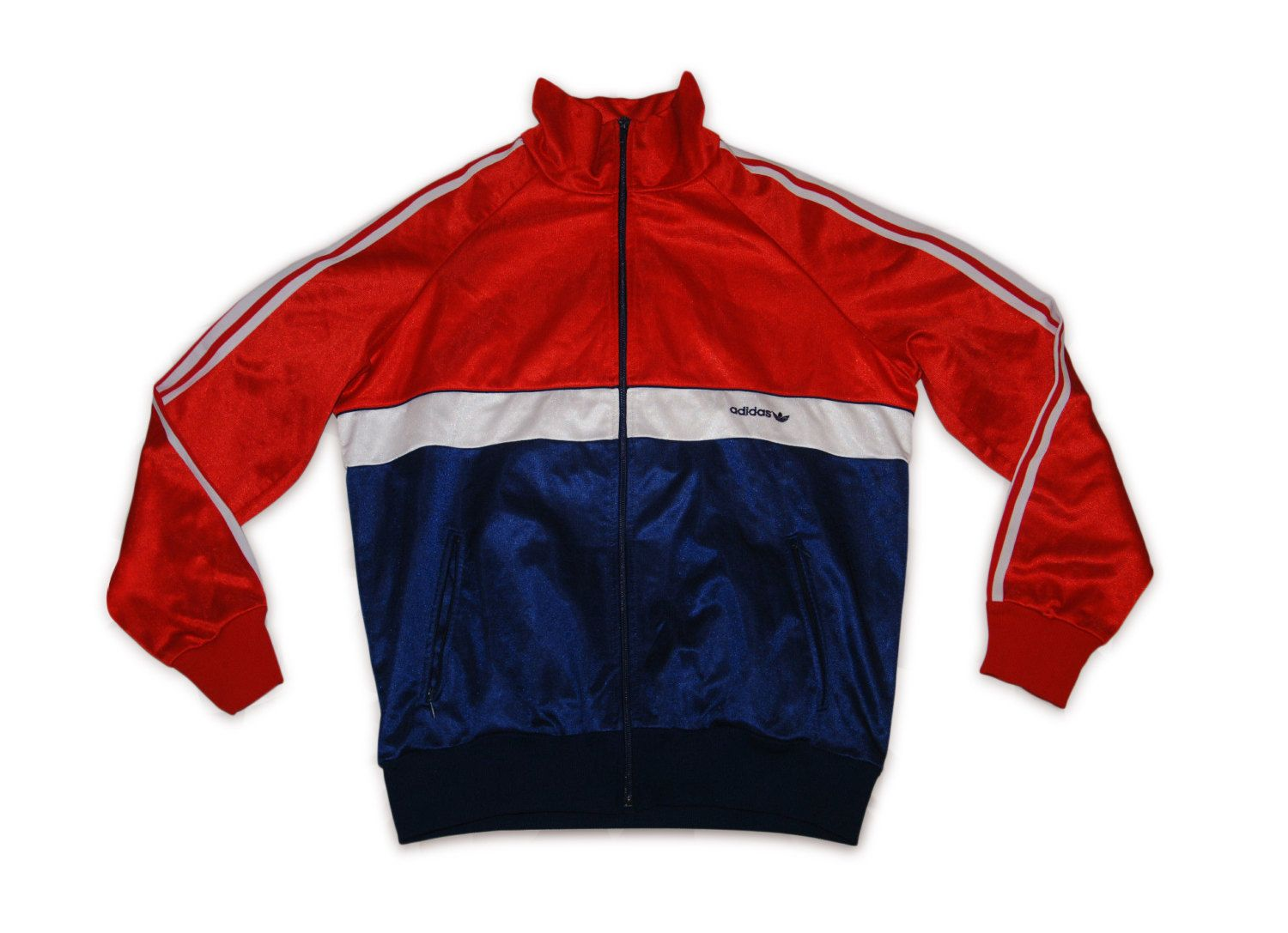 08970be54571 Vintage 80S Adidas Tracksuit top jacket shine nylon Blue Red White IBIZA M  by VapeoVintage on Etsy