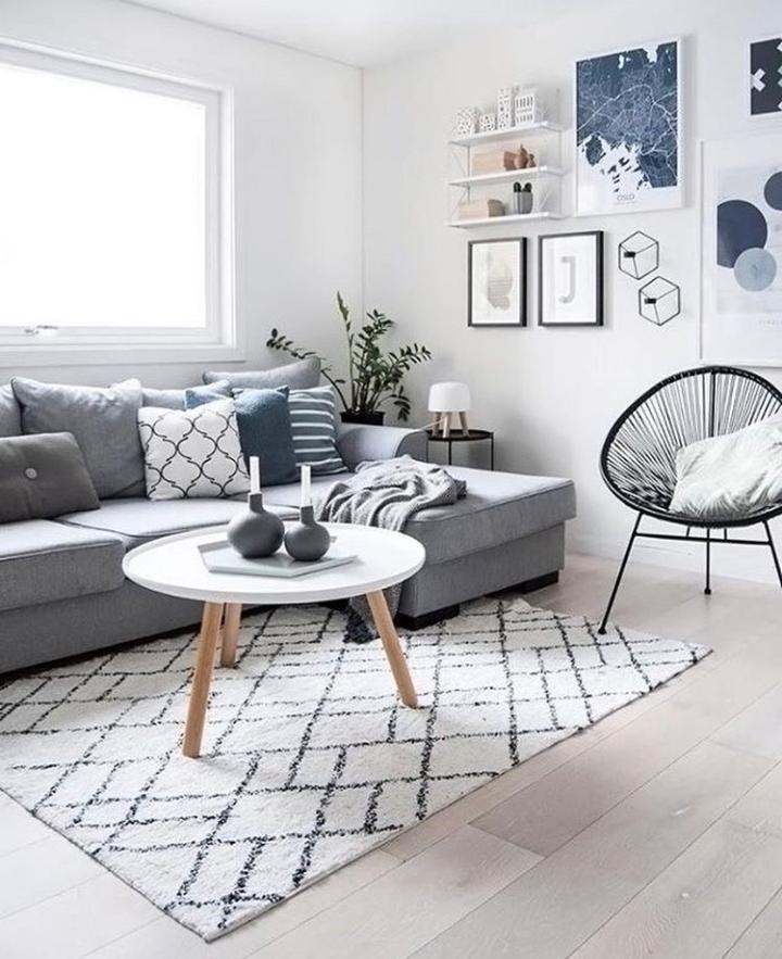 Stue, grå sofa med pyntepuder, tæppe, billeder, stol og hvidt ...