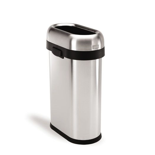 Simplehuman 50 L 13 Gal Slim Open Trash Can Commercial Grade Stainless Steel Simplehuman Brushed Stainless Steel Trash Can Slim stainless steel trash can