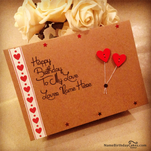 write name on sweet birthday card for lover  birthday