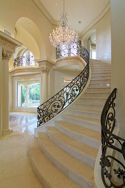 Love The Sweeping Curve And Broad Base Mix That Stone Color With   Grand Staircase House Plans   Curved Staircase   3 Car Garage   Acadian Home Interior   Single Story   1800 Square Foot