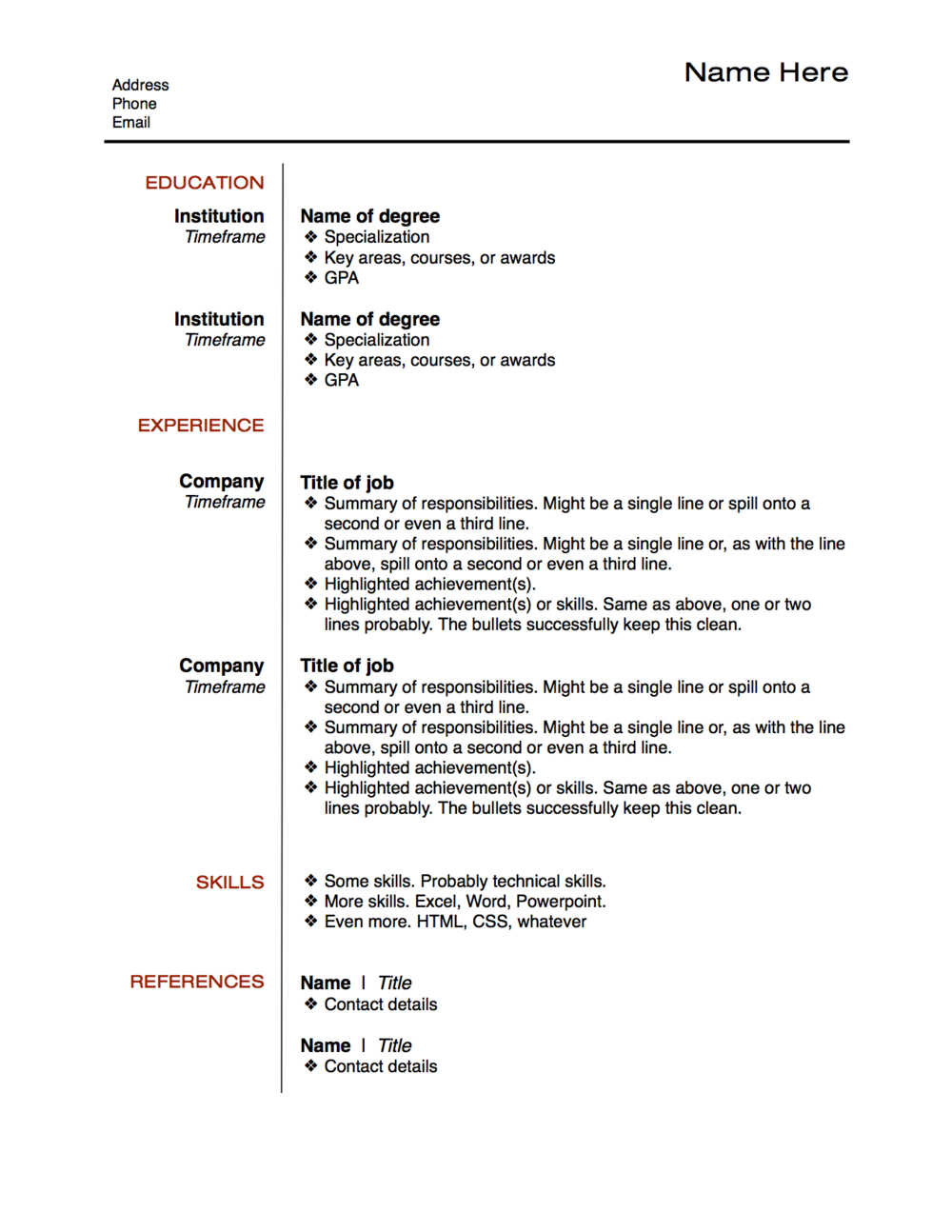 resume layout example png    �       cv   pinterest