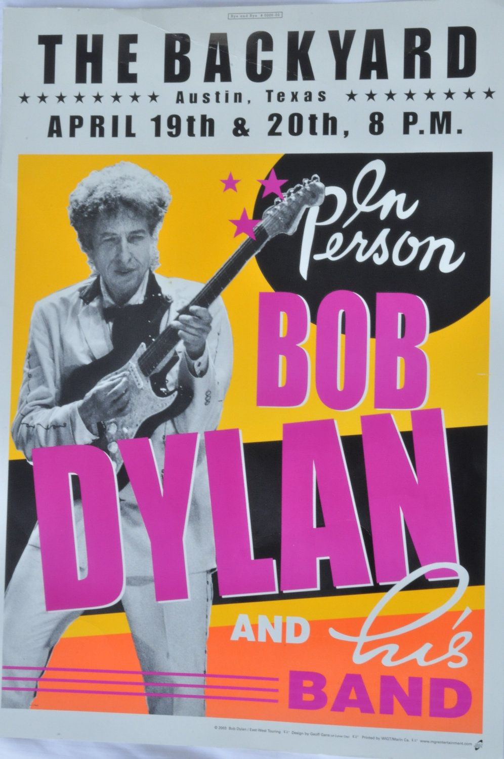 bob dylan at the backyard austin texas poster for reuse art