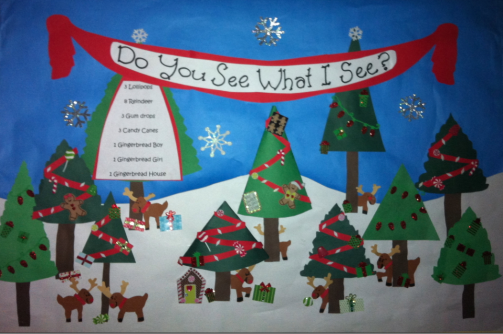 Christmas Trees And Reindeer In Winter Bulletin Board