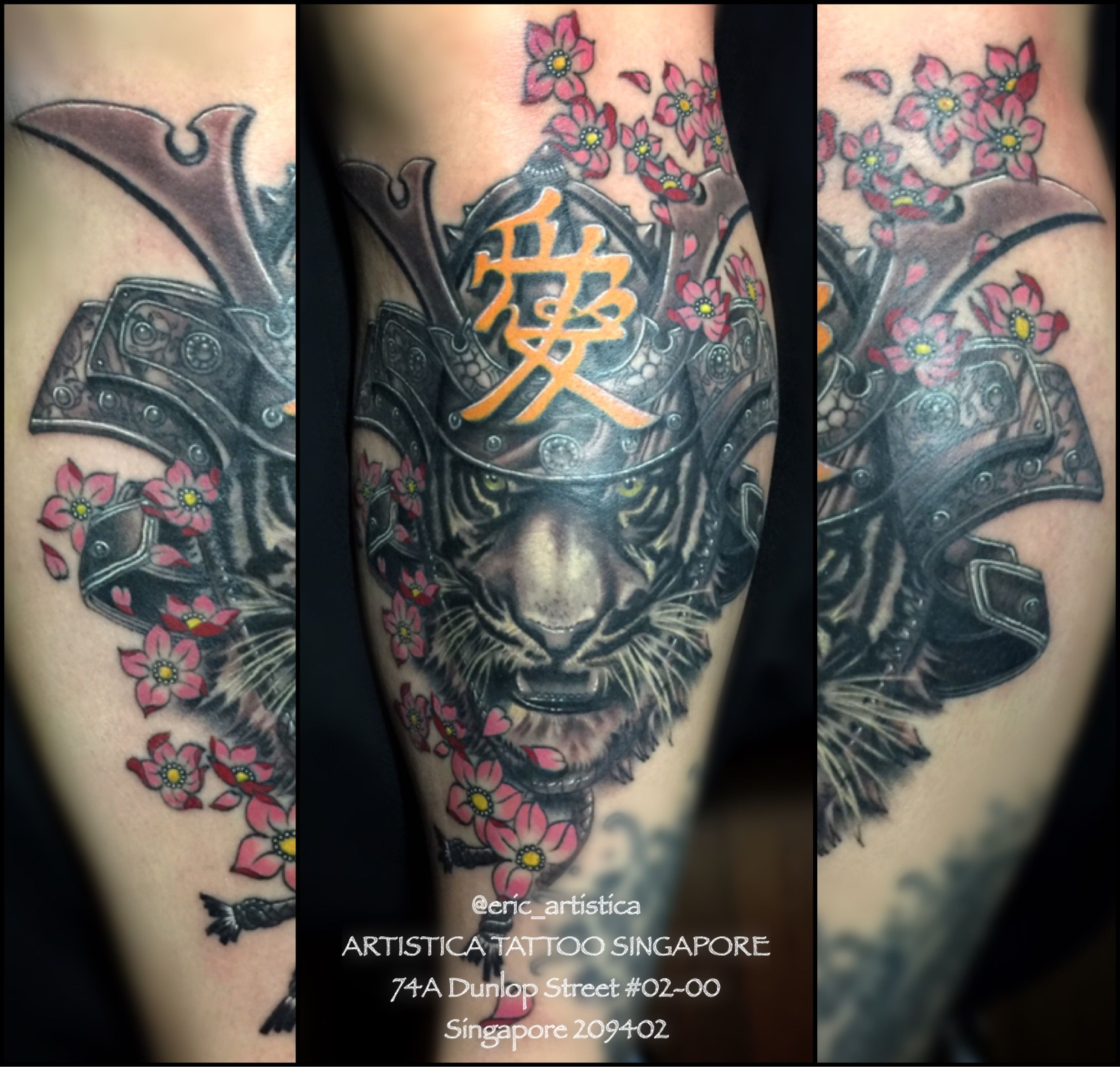Kabuto Tiger With Cherry Blossom Front Calf Japanese Tattoo Done By Me Artistica Tattoo Singapore 74a Dunlop Street 0 Tattoos Japanese Tattoo Word Tattoos
