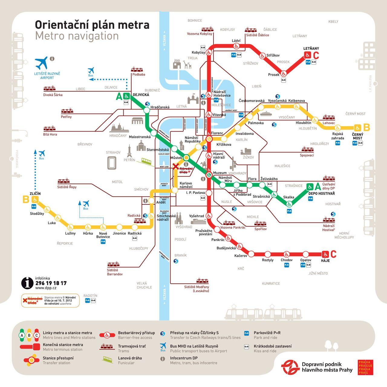 Official Map Prague Metro Orientation Map Metro Map Prague Map
