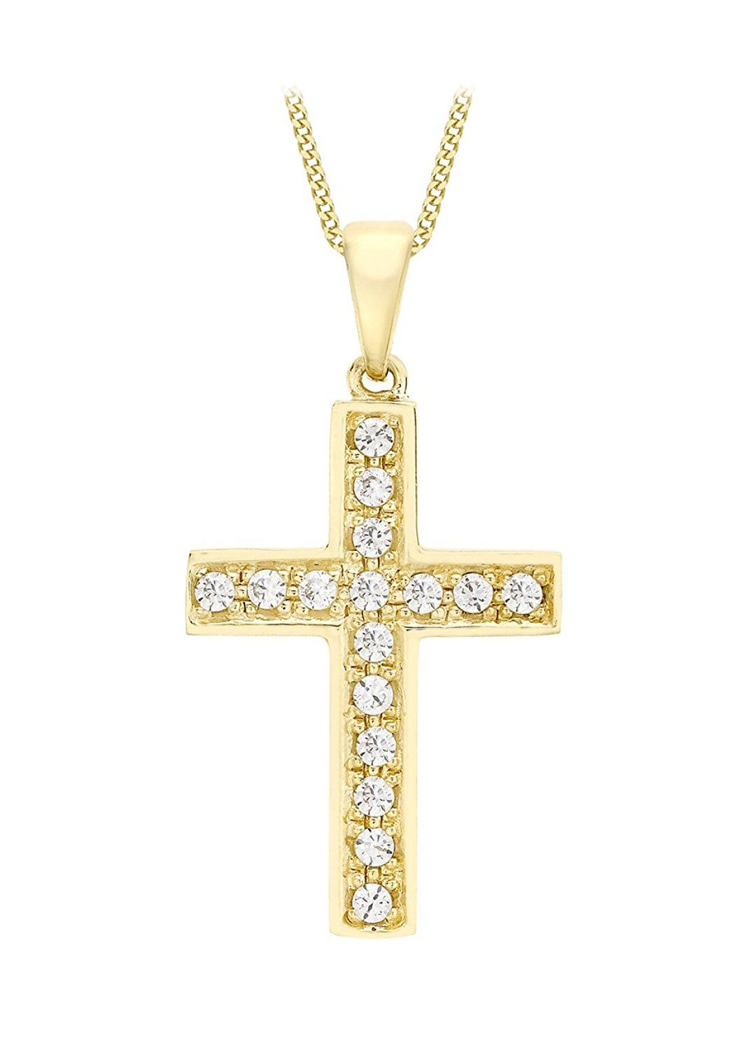 Carissima Gold Women's 9 ct Yellow Gold Cross Pendant on Curb Chain Necklace of Length 46 cm OAew1l