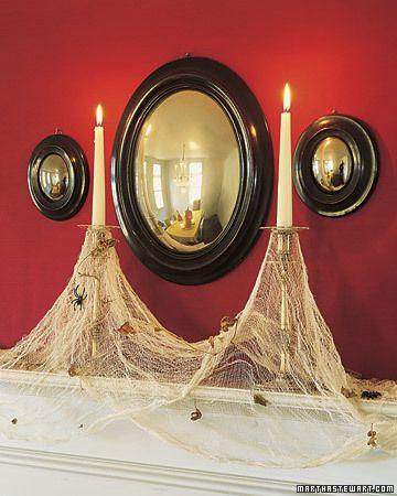 I love using my brass candlesticks for this! Halloween Pinterest - halloween indoor decorating ideas