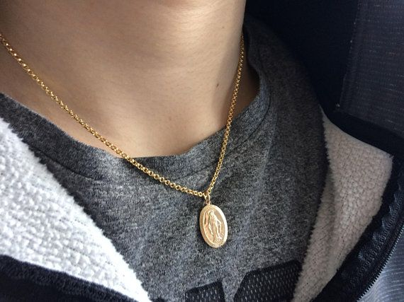 728c449f977bb Gold Medallion Necklace, Unisex Miraculous Necklace, Virgin Mary ...