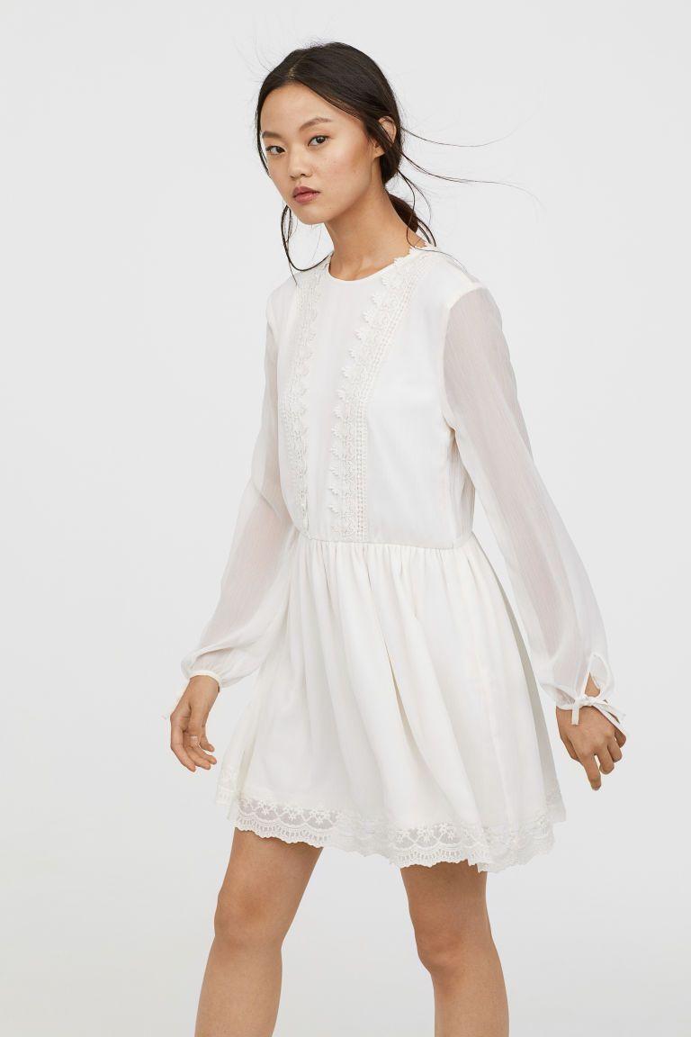 2a8be744152b1c Chiffon jurk met kant - Wit - DAMES