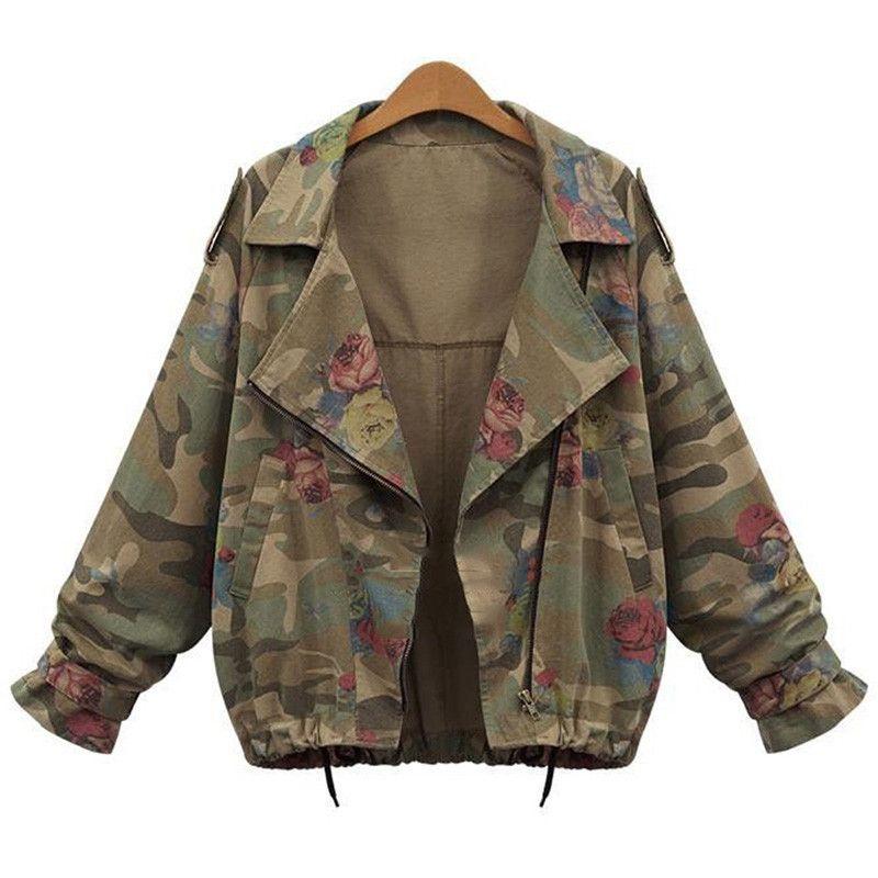 460eb6e1035e1 New Women s Camouflage Jackets Coat Zipper Denim Coats Army Green Outerwear