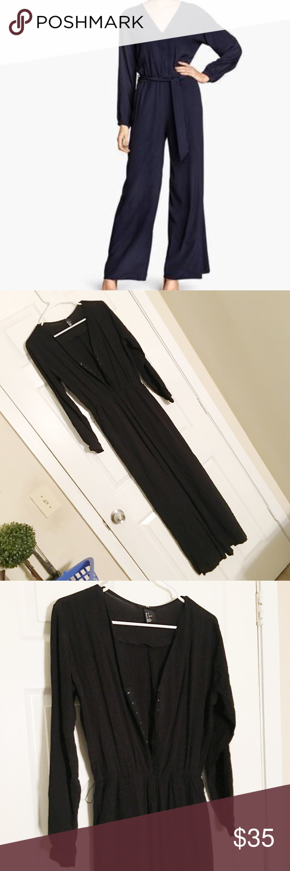 • Wide Leg Jumpsuit • V-neck jumpsuit in woven fabric with wide-cut legs. Side pockets, elastic waist, hook-and-eye fasteners at top, and sleeves with elasticized cuffs. Unlined. • Does not come with belt however any belt can be subbed in. • 100% rayon • no modeling or trades H&M Pants Jumpsuits & Rompers