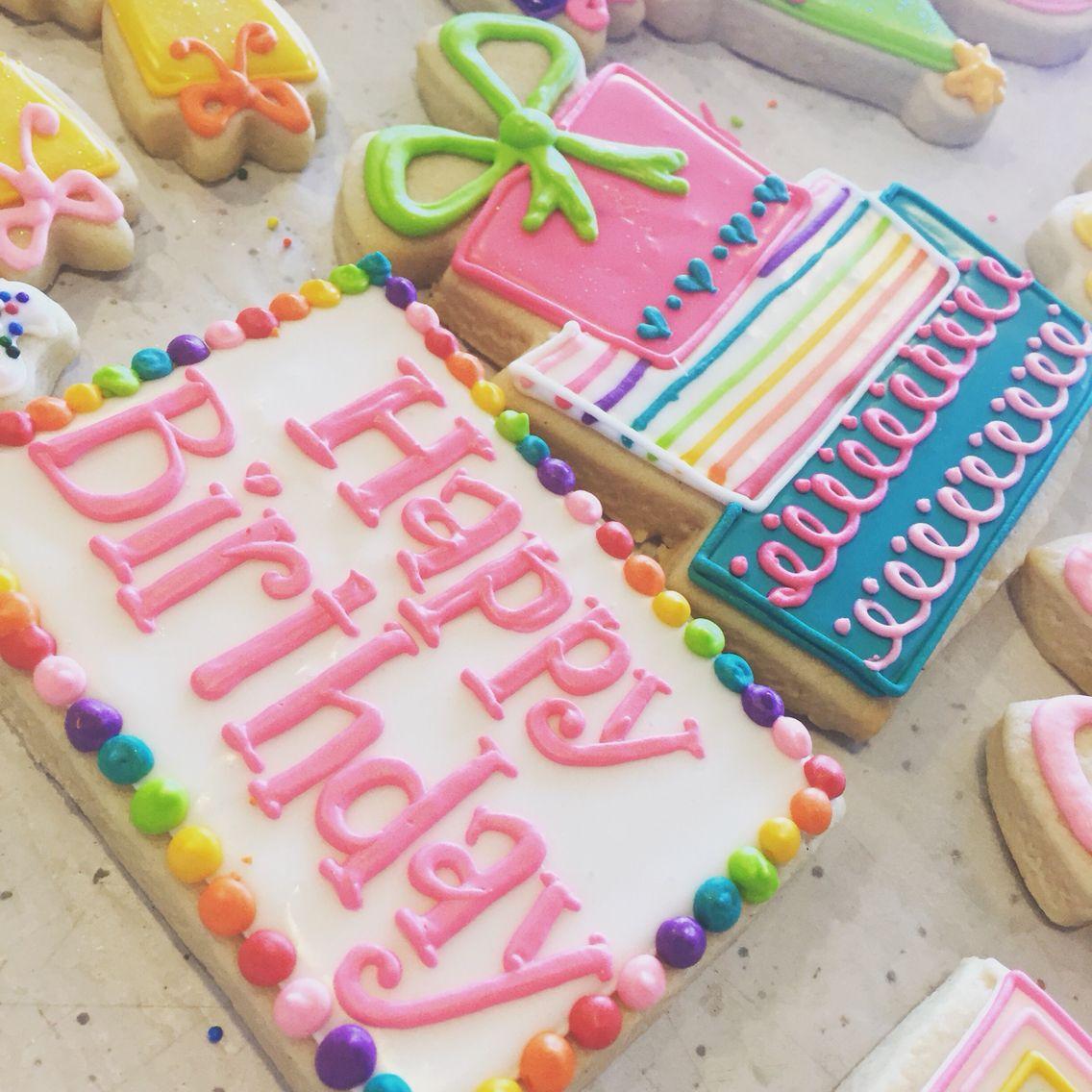 Bright rainbow birthday cookies by Hayleycakes and cookies